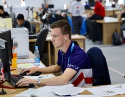Photo of Ross competing in the mechanical engineering CAD competition