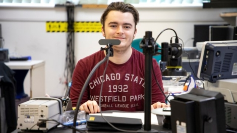 young swansea student studying electronics