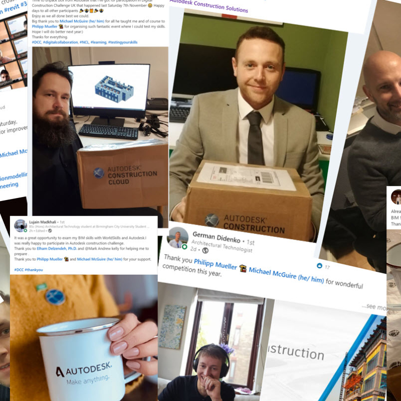 Social media posts of those who took part in the Autodesk Digital Construction Challenge