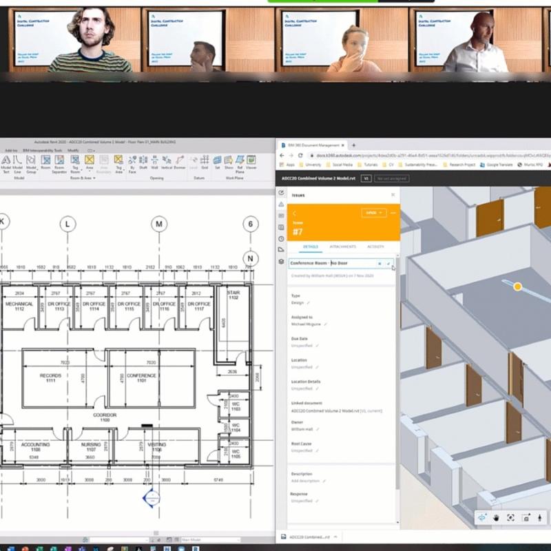Screenshot of Autodesk digital construction challenge taking place