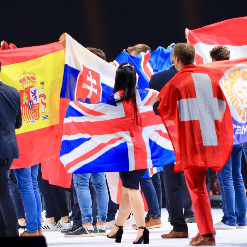 Competitors on stage at EuroSkills Budapest