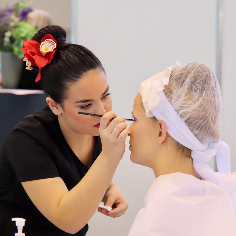 Holly Mae demonstrating her beauty therapy skills