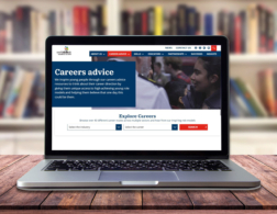 Career advice page on laptop