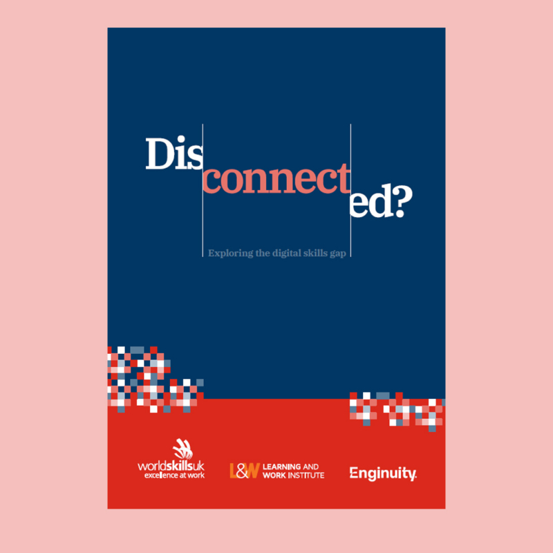 Disconnected report front cover on pink background