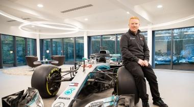 Ben Eaton with Mercedes F1 car