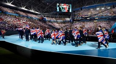 Team UK walking on stage at WorldSkills Kazan